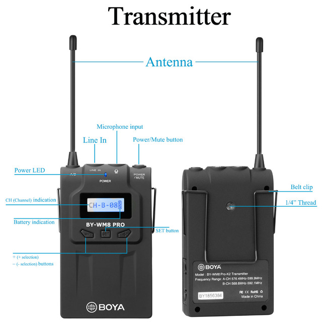 BOYA BY-WM8 Pro-K2 UHF Dual-Channel Lavalier Wireless Microphone System with LCD Screen for Canon Nikon DSLR Camera Camcorder