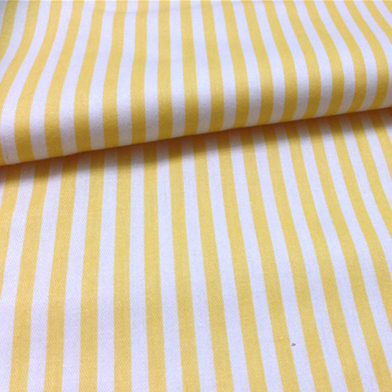 2 meters white/yellow stripe fabric 100% Cotton twill DIY manual ...