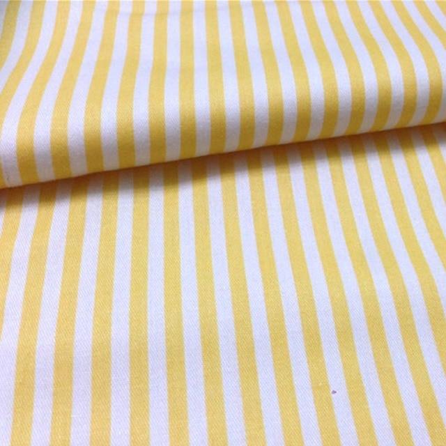 2 meters white/yellow stripe fabric 100% Cotton twill DIY manual ...