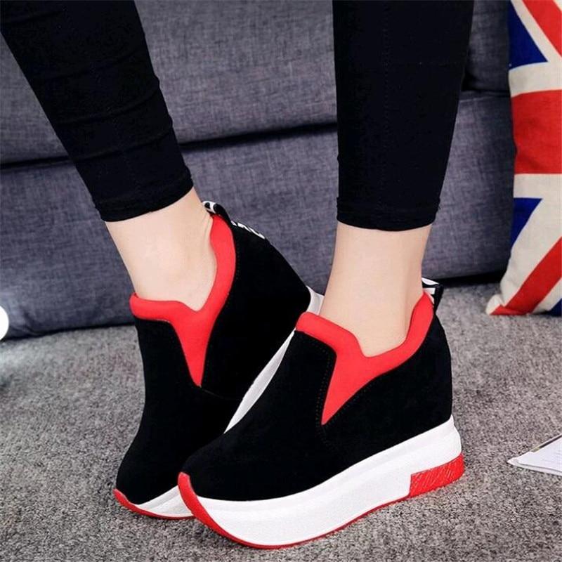 Alpargatas Gamuza Mujeres Plataforma Negro Fondo rojo Magdalenas Zapatos Mujer Casuales 2019 De Las Grueso Cuero Creepers Pisos Aumento Altura nwxqFZxXgY