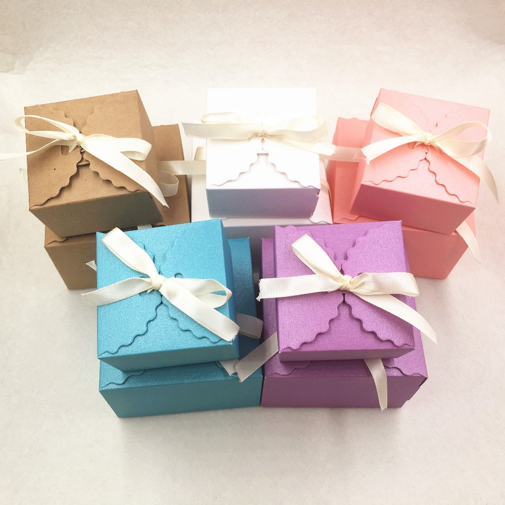 20pcs Colourful Gift Box Kraft Paper Storage Boxes For Wedding/jewellery/candy/food\chocolate\Party Packing Boxes
