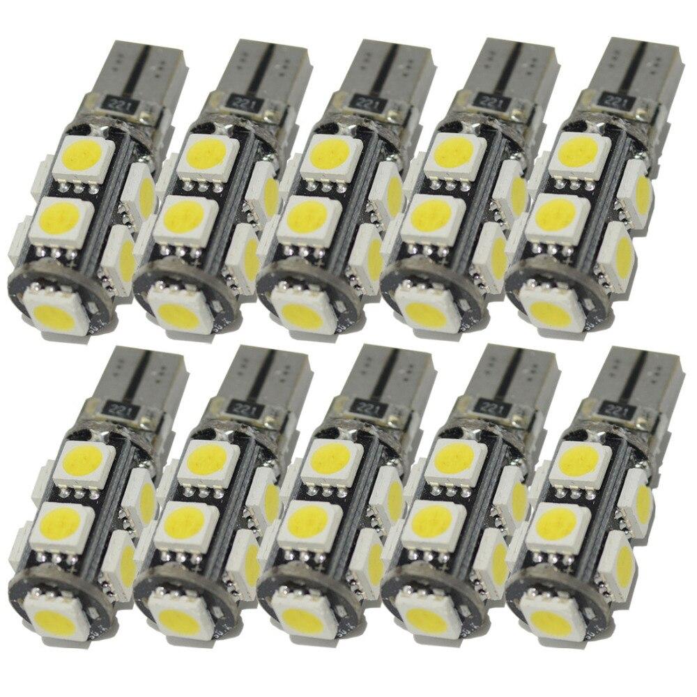 Safego 10 X t10 W5W led canbus 9smd 5050 led for car instrument Panel lamp courtesy light wedge led t10 canbus light bulb 12V