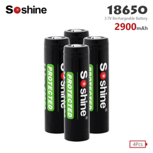Soshine Li-ion 18650 Rechargeable Batteries 3.7V 2900mAh Lithium Replacement Batteries With PCB for LED Torch Flashlight Battery