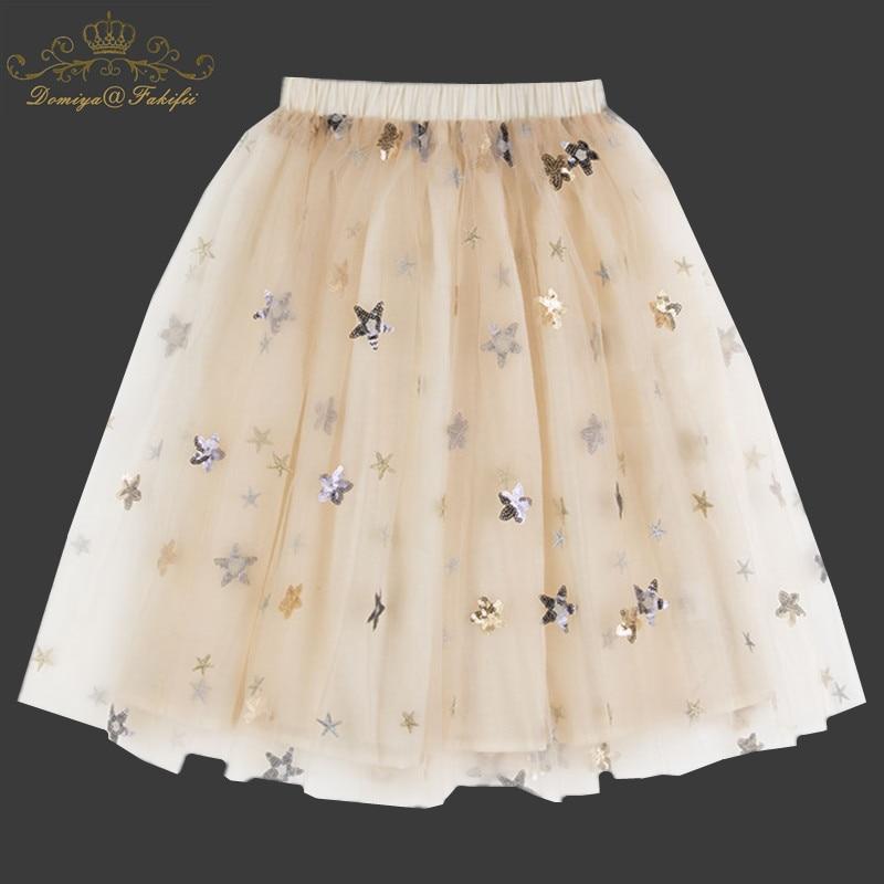 2018 Summer Kids Baby Star Sequined Dance Tutu Skirt For Girl Sequin Layers Tulle Toddler Mesh Pettiskirt Children Clothing 2-8T star sequin sheer mesh top