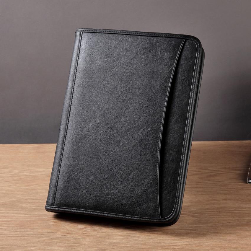 Multifunctional Business Portfolio Padfolio File Folder A4 Document Bag Organizer PU Leather Zipper Briefcase Manager Bag 1176