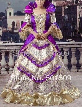יוקרתי ימי הביניים רנסנס שמלת המלכה - תחפושות