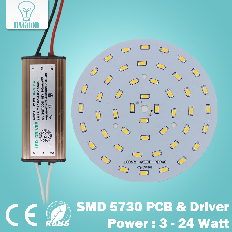 10pcs 3W 5W 7W 9W 12W 15W 18W 24W 5730 SMD Light Board Led Lamp Panel + Waterproof AC100-240 V LED power supply driver