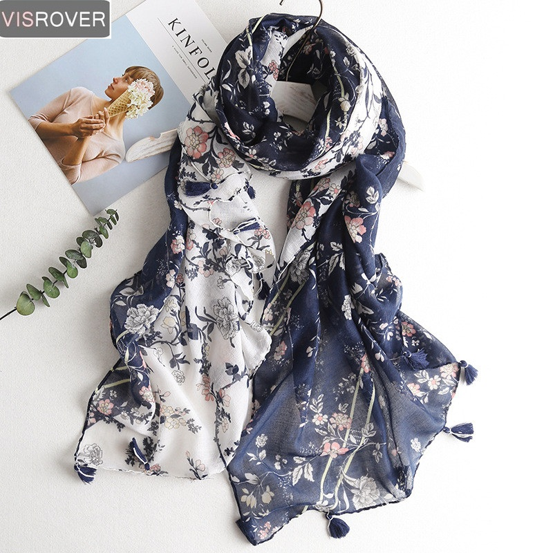 VISROVER Fashion Summer Scarf For Women Scarf For Lady Viscose Shawl Tropical Print Scarf Head Luxury Brand Beach Scarves Hijab