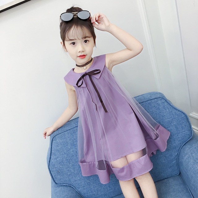 532ab47aad4c Summer Fashion Sleeveless Girls Bow Dress Toddler Kids Clothing Doll ...