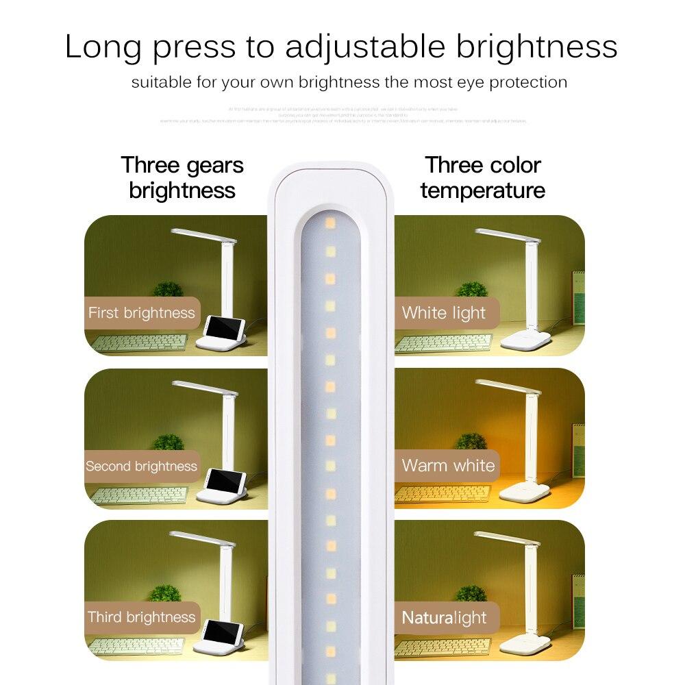 Image 3 - Светодиодный настольный светильник складной сенсорный диммер настольные лампы usb зарядка защита для глаз светильник для чтения с многофункциональным основанием-in Настольные лампы from Лампы и освещение