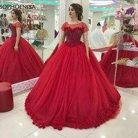 Новое поступление красное, с коротким рукавом Бальные вечерние платья 2019 халат longue Дубайский мусульманский вечернее платье вечерние Восто
