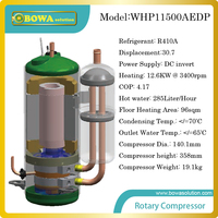 12.6KW DC invert compressor for heat pump water heater produces 285L/H hot water or for 96sqm floor heating of apartment