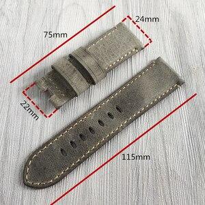 Image 2 - 24mm artesanal costurado couro de bezerro genuíno pulseira de relógio para implantação fivela pulseira para pam enviar também