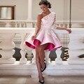 Short Cocktail Dresses Cheap Vestido De Festa A line Cocktail Dress One Shoulder Rob De Soirre Applique Cocktail Gown Pleats