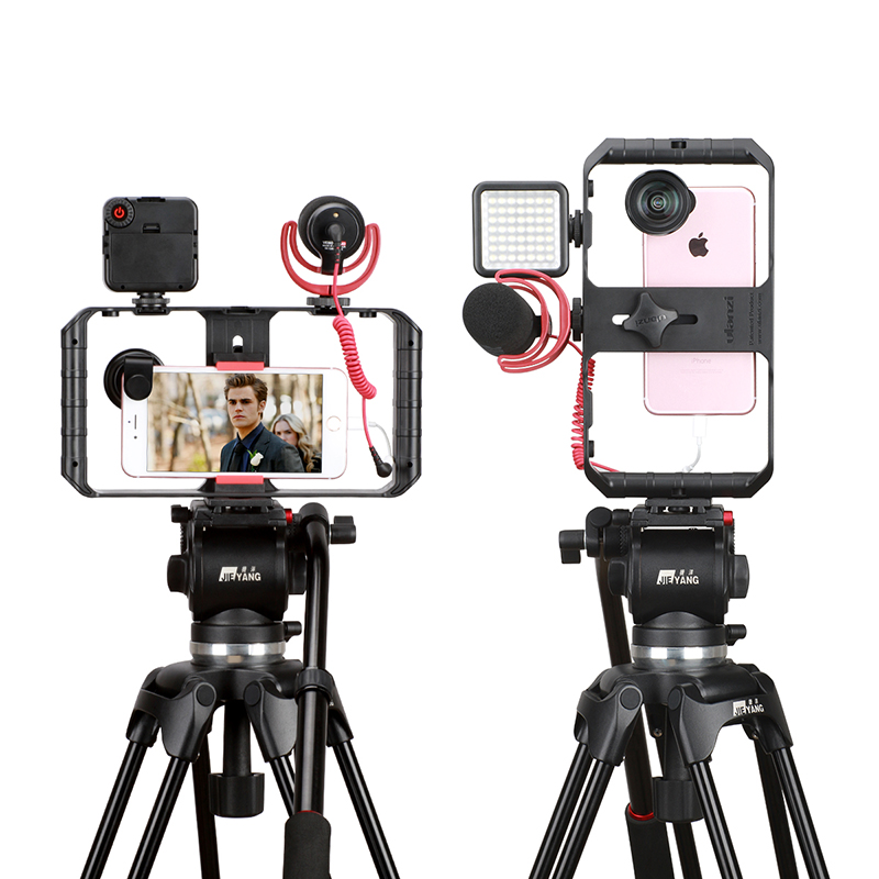 cheapest Ulanzi ST-06 Vlog Tripod Mount  Phone Holder Camera Hot Shoe Phone Clamp With Cold Shoe Mic Universal for iPhone Samsung Huawei