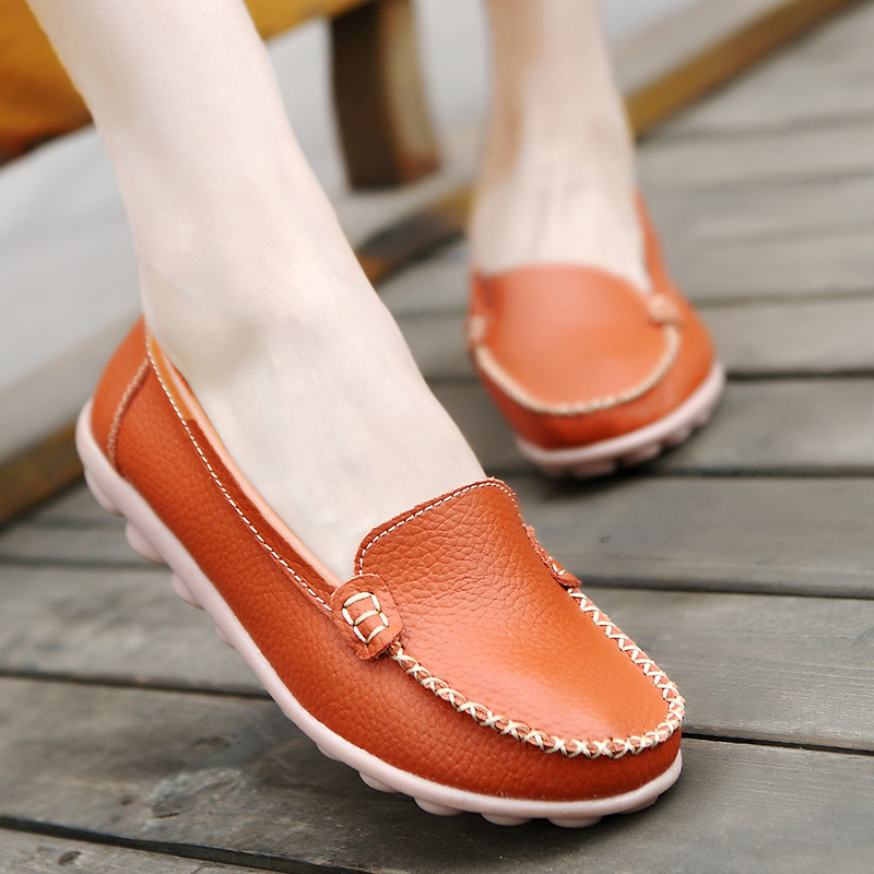 Designer Women Flats Summer Ballet Flats Casual Split Leather Shoes Slip On Loafers Non Slip Moccasins Chaussure Femme Size 41 autumn women flats buckle leather loafers women shoes female casual shoes chaussure femme slip on ballet boat shoes moccasins