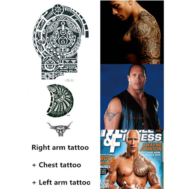 3pcsset Temporary Tattoo Fastfurious Dwayne The Rock Johnson