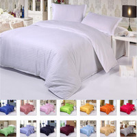 luxury Five Star Hotel Pure color Cotton Bedding sets Flat/Fitted sheet sets bed linen Satin duvet cover+sheet+pillowcase