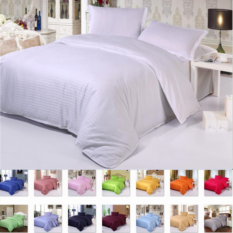 luxury Five Star Hotel Pure color Cotton Bedding sets Flat Fitted sheet sets bed linen Satin