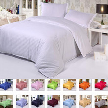 luxury Five Star Hotel Pure color Cotton Bedding sets Flat/Fitted sheet bed linen Satin duvet cover+sheet+pillowcase