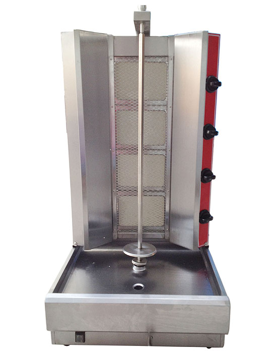 Best quality lpg gas doner shawarma machine, 4(four) burners propane gas kebab machine, gas vertical rotisserie broiler grill