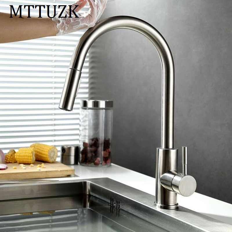 Mttuzk Smart Touch Sensor Kitchen Faucet Faucets Water Saving Basin Tap Hot And Cold Mixer Stainless Brushed Taps