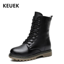 Autumn Children Mid-Calf Motorcycle boots Genuine Leather Winter Girl Boy Snow Slip resistant Military Kids shoes 3B