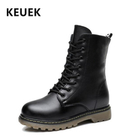 Autumn Children Mid Calf Motorcycle boots Genuine Leather Winter Girl Boy Snow boots Slip resistant Military boots Kids shoes 3B