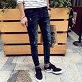 2016 Primavera New Coreano Homem Homens Demin Jeans Pontos de Cor Rua Moda Calças Lápis Slim Calças Pintadas MQ01