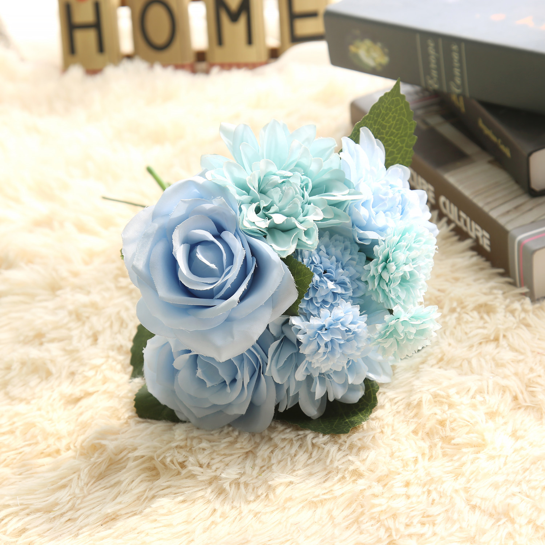 1 Bunsh Silk Artificial Flower Blue Dahlia Party Wedding Garden Celebrations Home Public places Festival Decor 30cm
