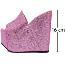 2017 Fashion Pink Wedges Slippers Sexy Women Platform Sandals Ladies Pumps High Heels Shoes Woman Summer Style Chaussure Femme