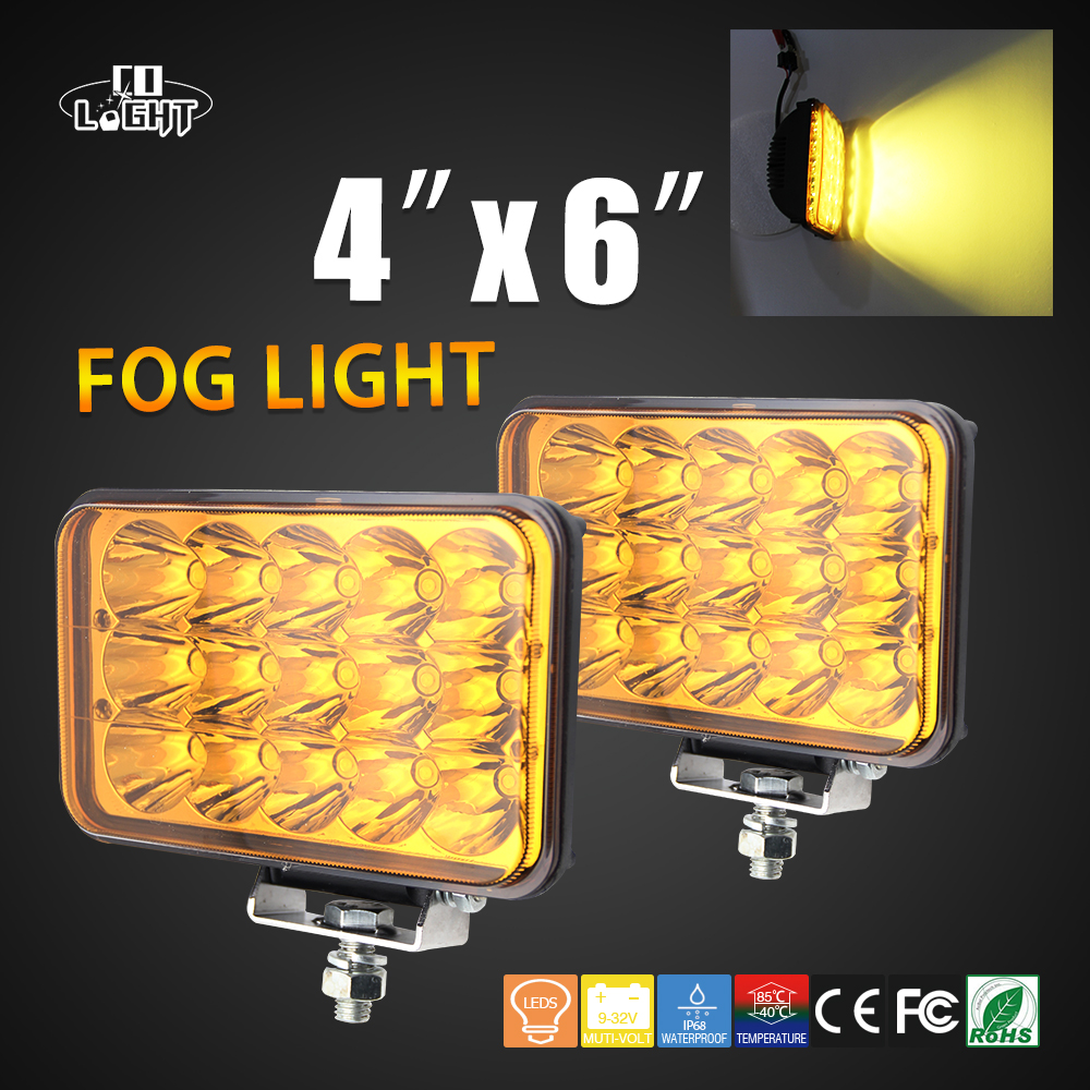 COLIGHT 45W Offroad 4X6 Led Fog Light Lamp Work Driving Lights Auto Daytime Running Lights For Car Lada GMC SUV 4x4 Car-styling co light 1 pair led headlight 4x6 45w high low fog lamp for kenworth gmc chevrolet ford jeep lada niva 4x4 offroad 9 32v 3000k
