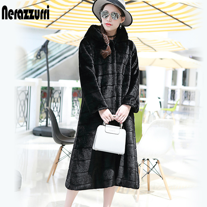 Nerazzurri Faux Fur Coat With Hood Plus Size Casual Loose Striped Fake Fur Jacket  Women Long Sleeve Rex Rabbit Fur Overcoat