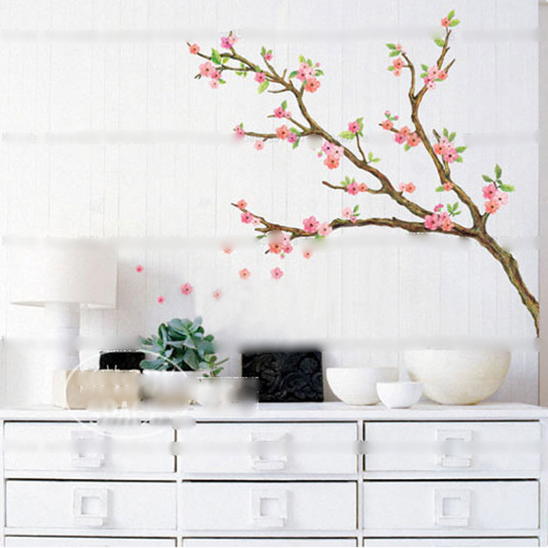 New Butterfly Cherry Blossom Flower Tree Branch Wall Decals Decor Kids Baby Stickers  Wall Art Decals