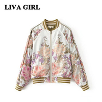 Liva Girl Flight Jacket Winter Autumn 2017 New Fashion Stand Up Shoulder Rotund Sleeves Printed Zipper