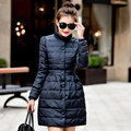 2017 Fashion Winter Jacket Women Long Skirt Thin Outerwear White Duck Down Stand Collar Single Breasted Solid Woman Parkas Coat