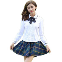 Japanese School Girl Uniform Korean Student College Uniform Skirt Women Cotton White Lace Shirt + Plaid Pleated Skirt Girls