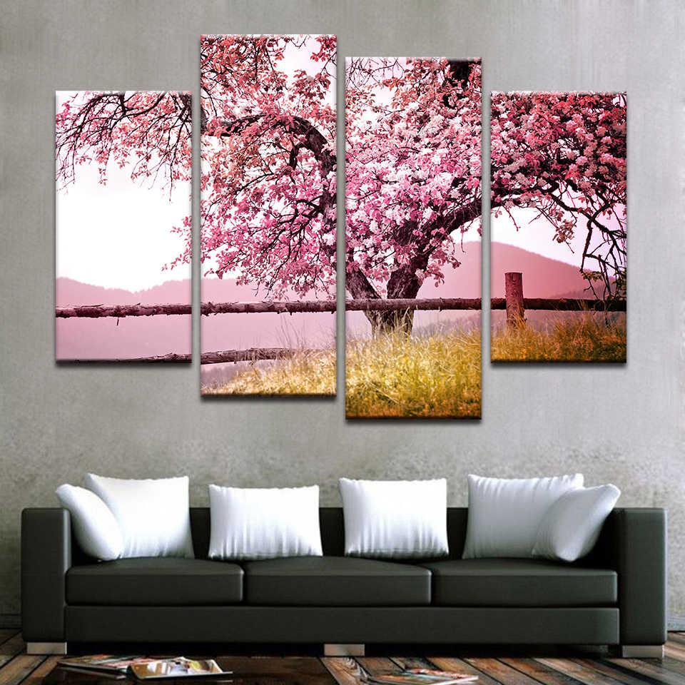 אמנות כרזות הדפסי ציור ורוד עץ נוף מודולרי בד HD קיר מסגרת תמונות לסלון חדר עיצוב הבית
