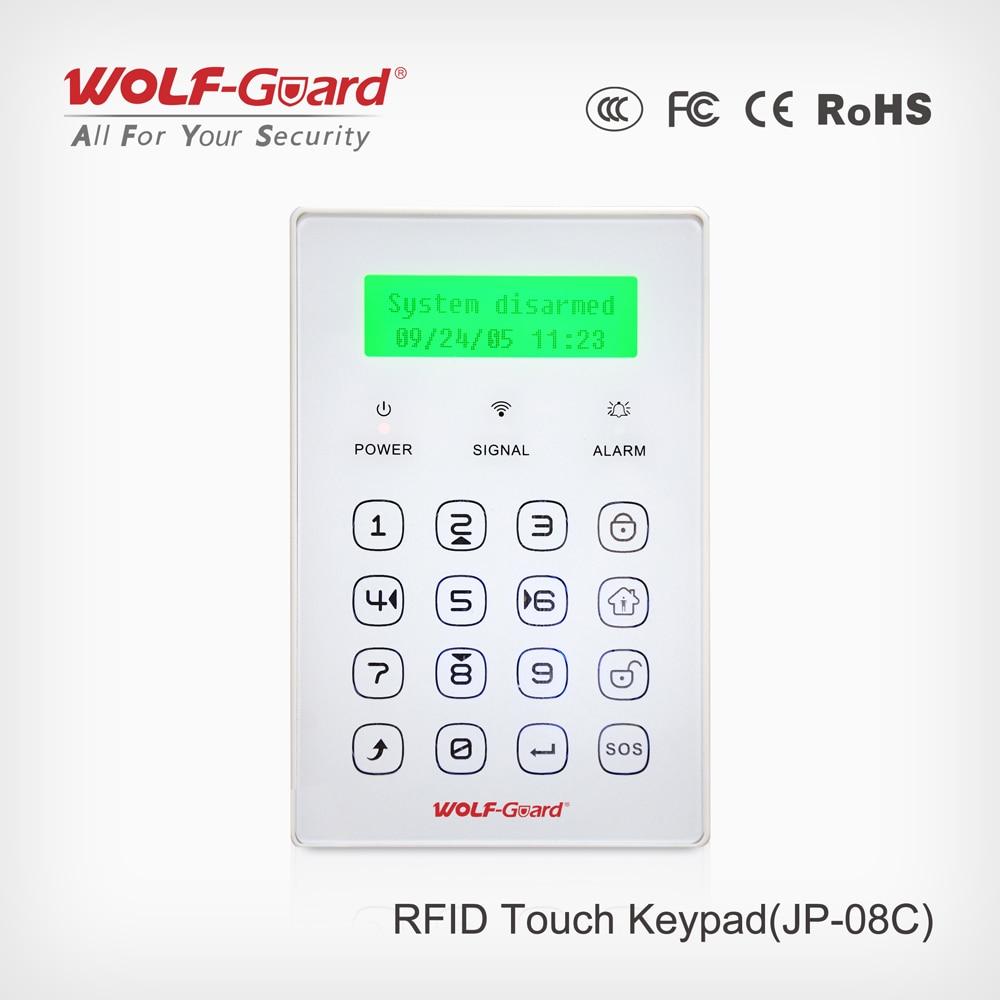 Wolf-Guard Wireless 433MHZ Wireless RFID Keypad Keyboard Arm Disarm Home Arm for Home GSM Burglar Alarm Security System JP-08C free shipping 315mhz and 433mhz wireless rfid key tag for wolf guard gsm wireless security burglar home alarm system