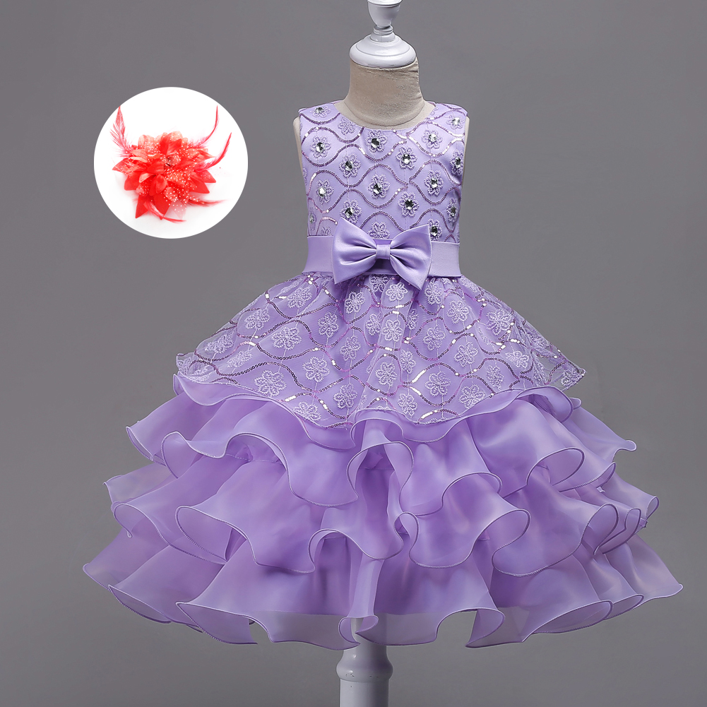 Children Events Clothes Party Ball Gown Girls Wedding Elegant Ruffles Flower Girl Blue White Hot Pink Lavender Dress gril flower dress multi storey white clothes stage girl performance children show clothes for dance with a pair of glove