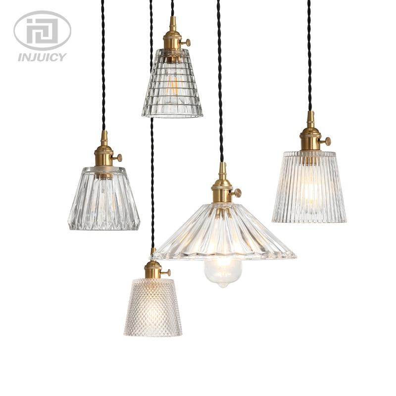 где купить American Retro Industrial Brass Glass Single Head Pendant Lights Clear Glass Crystal Carved Ceiling Lamp For Bedroom Restaurant по лучшей цене
