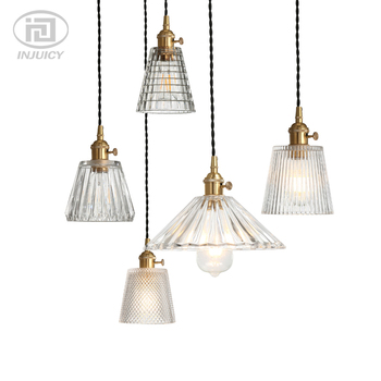 American Retro Industrial Brass Glass Single Head Pendant Lights Clear Glass Crystal Carved Ceiling Lamp For Bedroom Restaurant