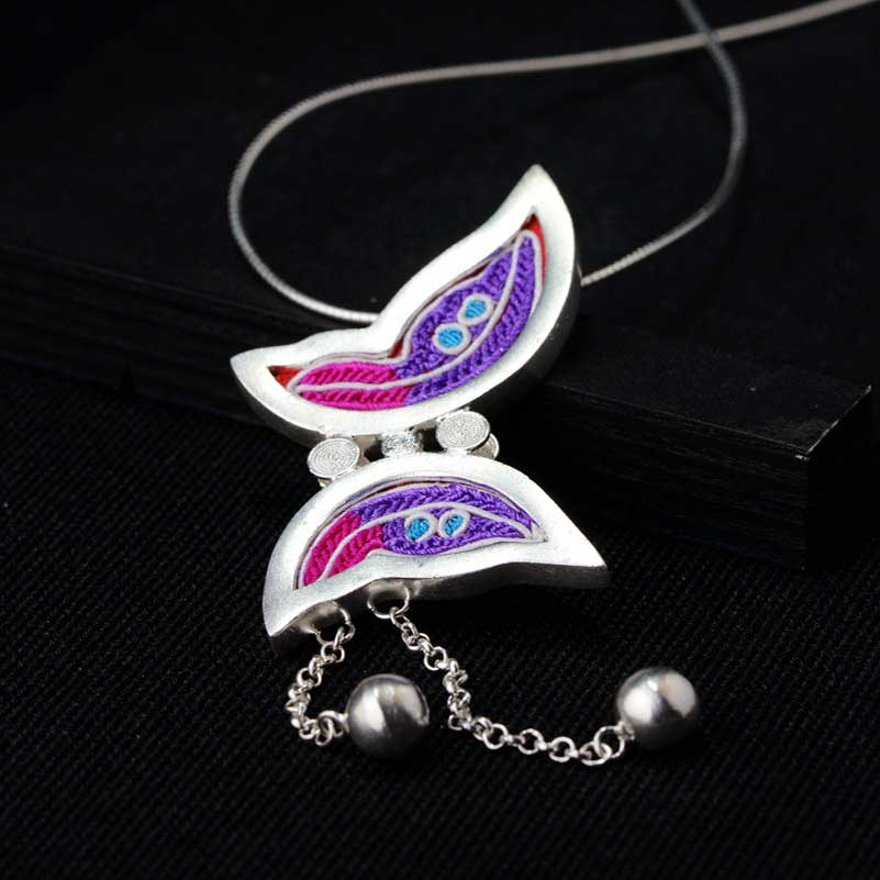 FNJ 925 Silver Butterfly Pendant Animal Cixiu Colorful Hang Pure Original S990 Thai Silver Pendants Women for Jewelry MakingFNJ 925 Silver Butterfly Pendant Animal Cixiu Colorful Hang Pure Original S990 Thai Silver Pendants Women for Jewelry Making