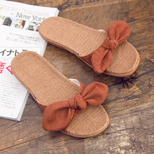 home slippers women summer  open toe linen slippers female indoor and outdoor wear non-slip home flat salto alto peep toe beach