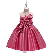 New Princess dress children's host girl flower mesh show stage birthday formal wedding dress new pattern girl princess foreign trade sleeping princess show serve thick dress mesh
