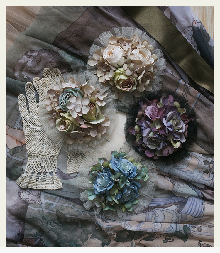 Goddess Profile Handmade Vintage Rose+Hydrangea Hairpin+Brooch Dual-use Clip Painting Sense  Lolita Sweet Hairclip Headwear