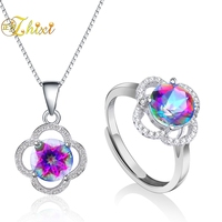 ZHIXI Crystal Jewelry Set Pendant Ring Necklace 925 Silver Genuine Gem Stone Cool Trendy For Women Girl Rose T238DJ