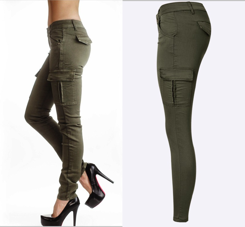 Army Green Jeans Women 6