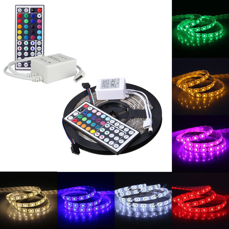 1 Roll Led Strip Light 5m Rgb 5050smd 300led Waterproof Flexible Led Light Strip+44key Ir Remote Home Tv Background Lights Driving A Roaring Trade Lights & Lighting Led Strips