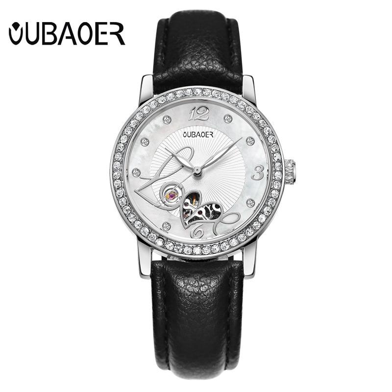 купить OUBAOER Mechanical Female Wrist Watch Women Automatic Self-Wind Watches Leather Wristwatch Relogio Automatico Masculino OB2005B по цене 2209.24 рублей
